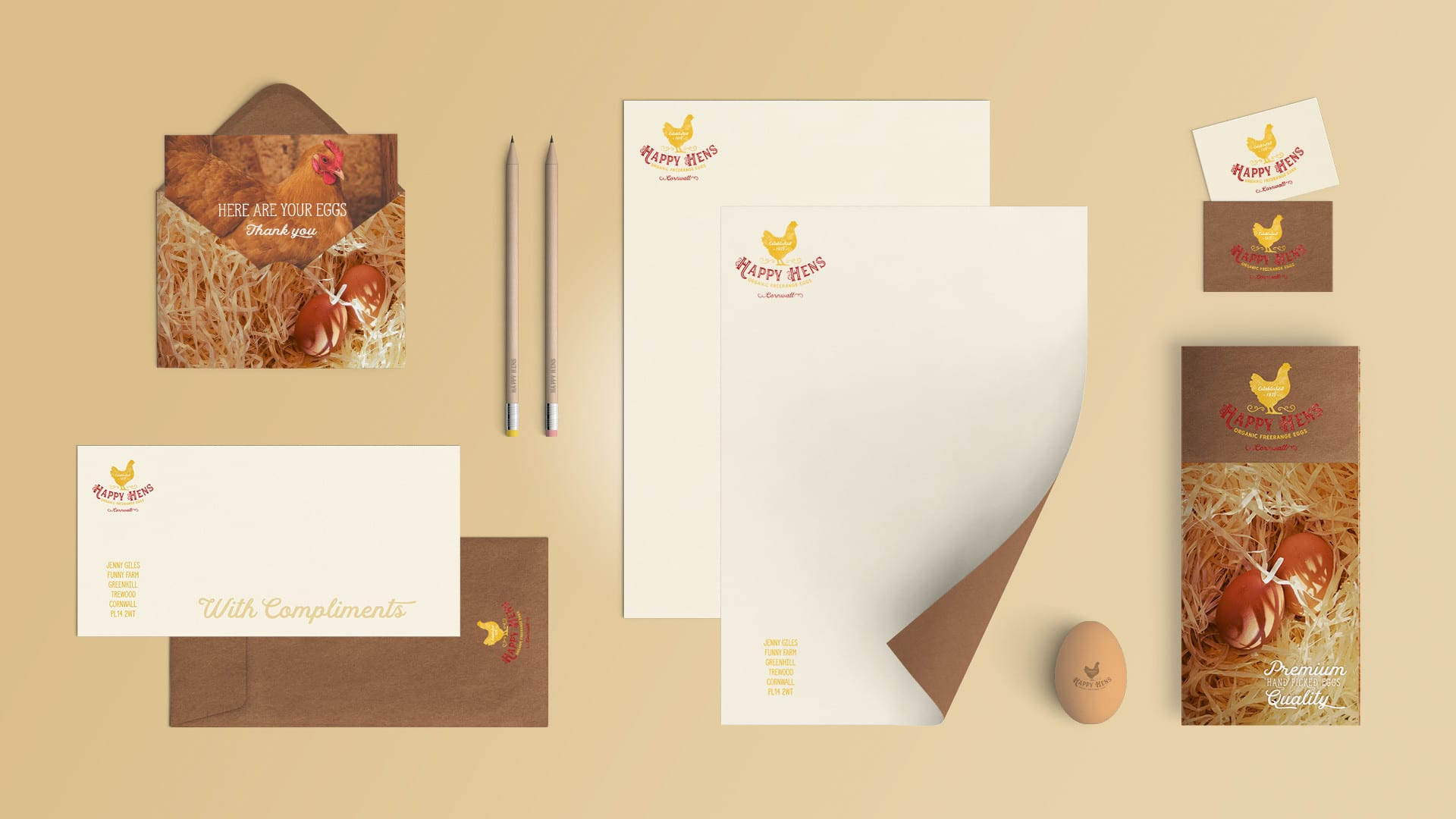 Happy Eggs Stationery Branding