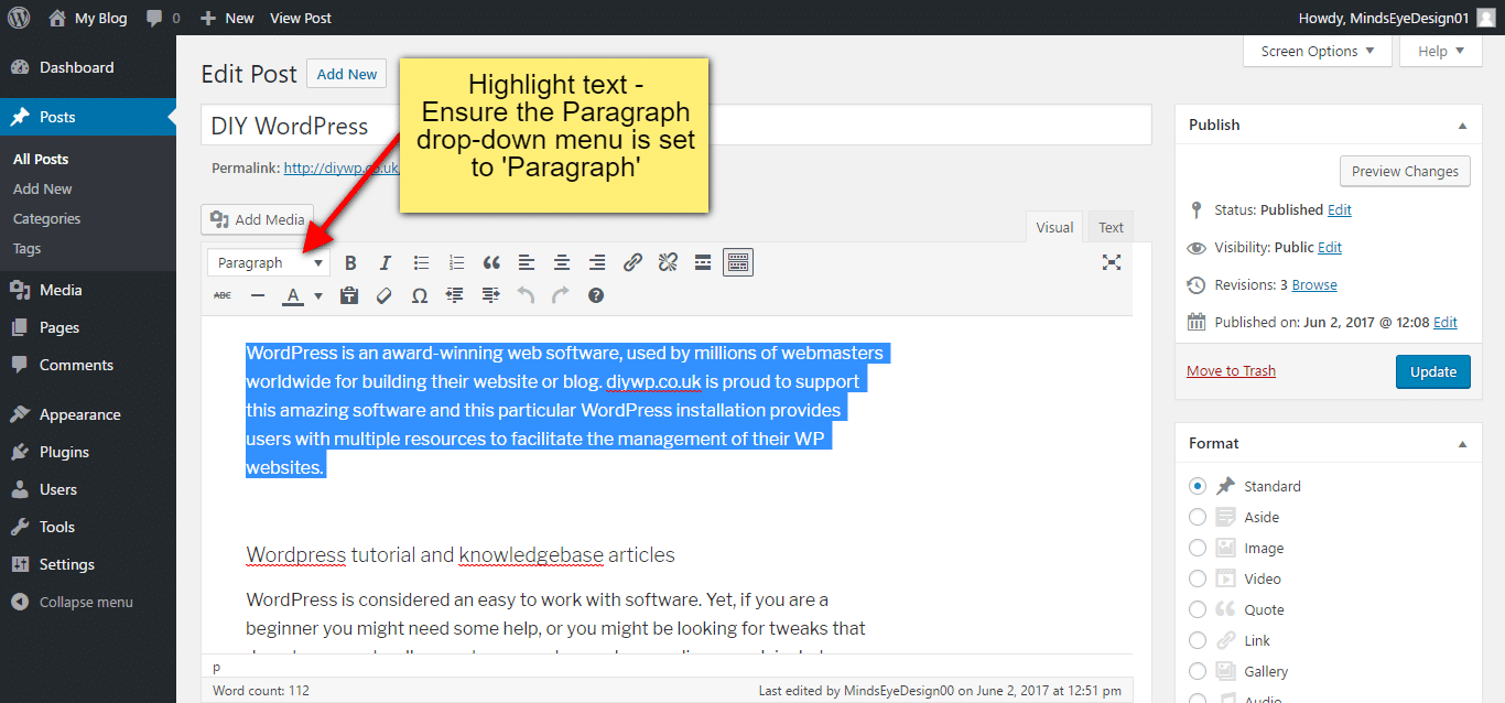 Styling paragraphs of WordPress content