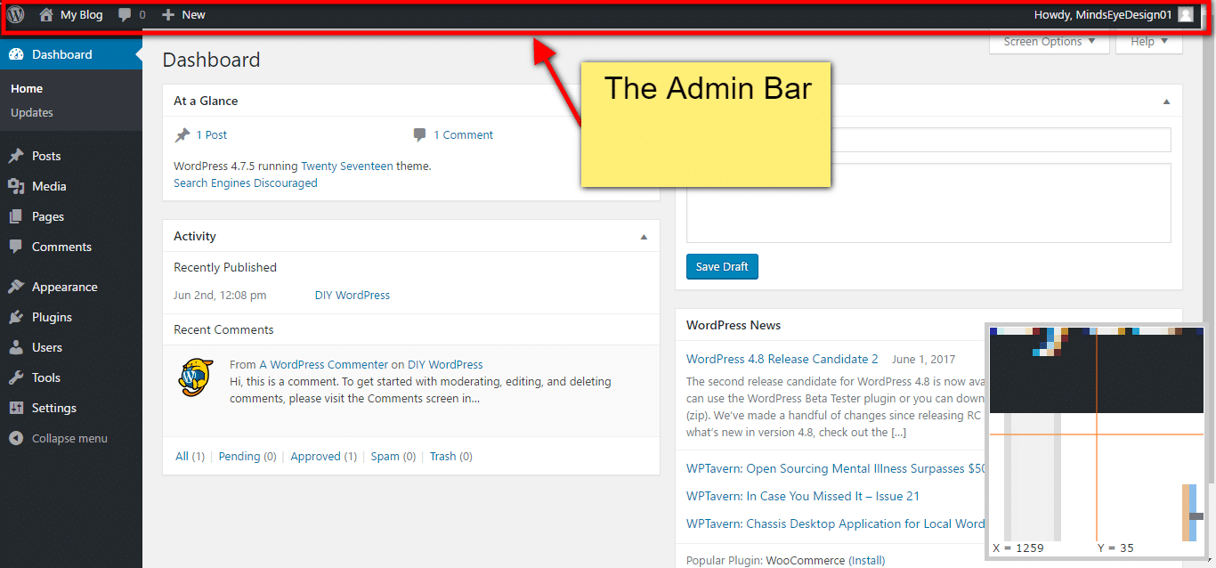 The Toolbar or Admin Bar
