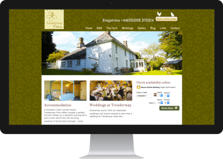 Website Design Bed Breakfast Trenderway