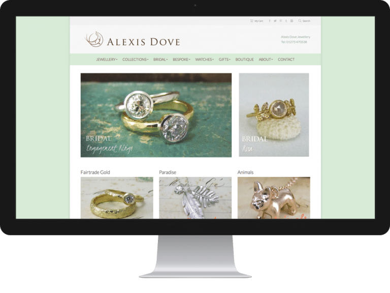 Website Design Jewellery Designer Alexis Dove