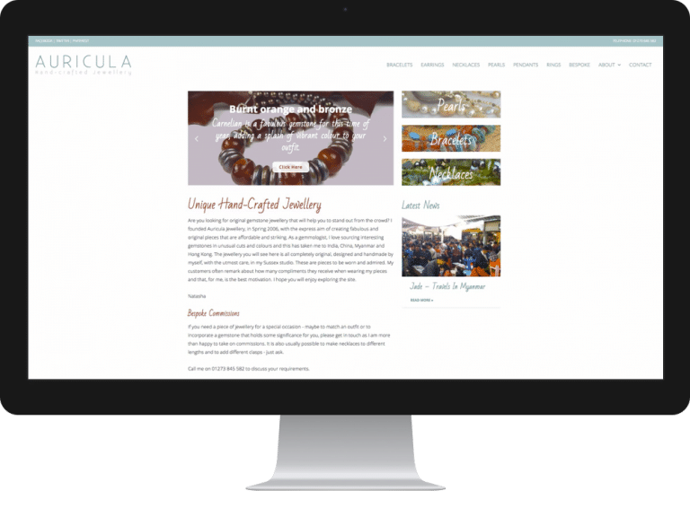 Website Design Jewellery Designer Auricula Jewellery