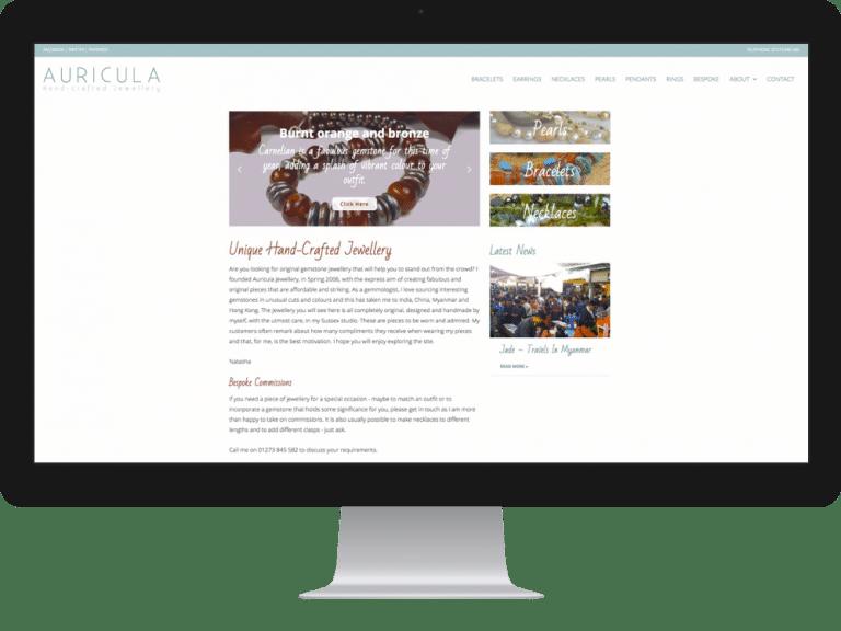 Website Design Jewellery Designer Auricula Jewellery