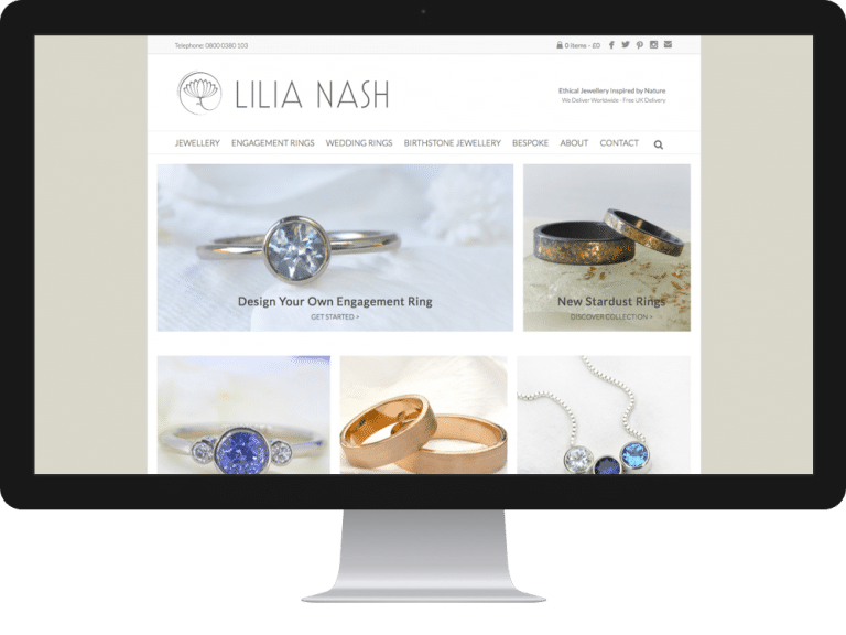 Website Design Jewellery Designer Lilia Nash