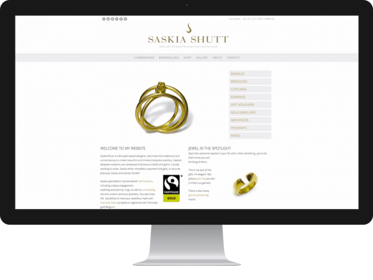 Website Design Jewellery Designer Saskia Shutt