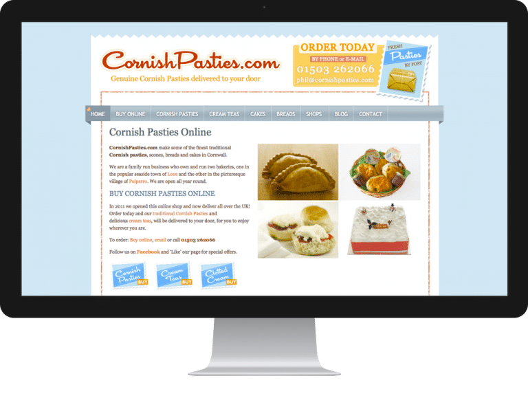 Website Design ecommerce websites cornish pasties
