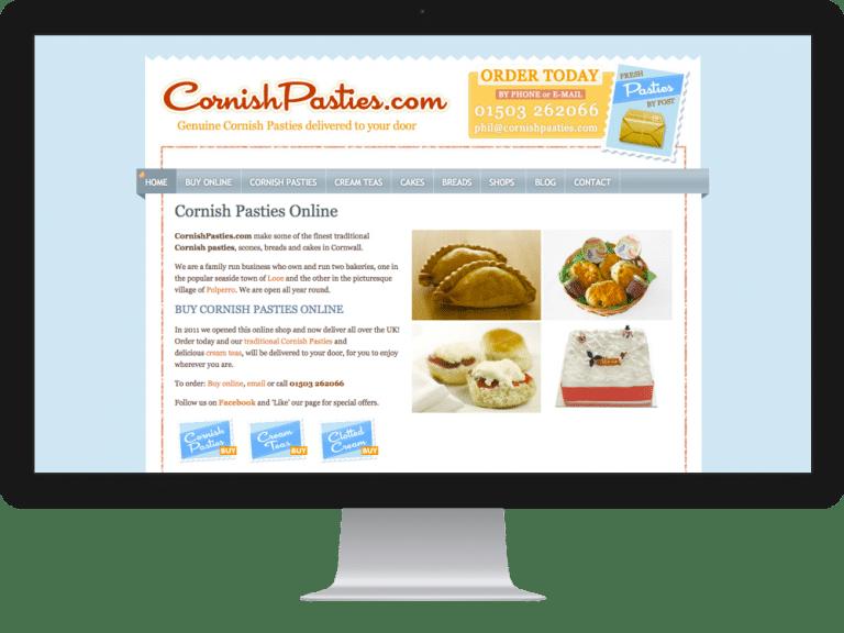 Website Design ecommerce websites cornish pasties